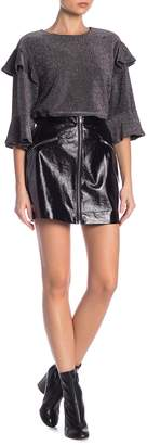 J.o.a. Zip Front Faux Leather Mini Skirt
