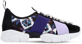 Emilio Pucci 30mm Crystals Suede & Neoprene Sneakers