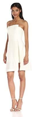Halston Women's Strapless Jacquard Dress W Patent Lthr Belt, 2