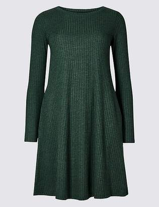 Marks and Spencer Textured Long Sleeve Swing Dress
