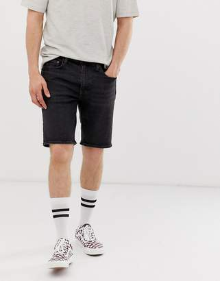 Levi's 502 tapered fit hemmed denim shorts in lorimer dark wash