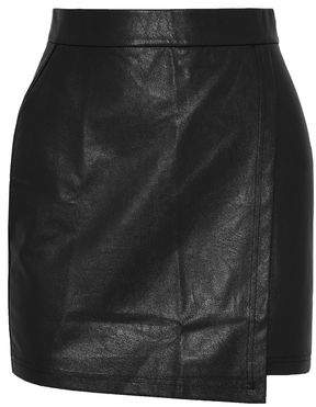 Splendid Wrap-Effect Faux Leather Mini Skirt