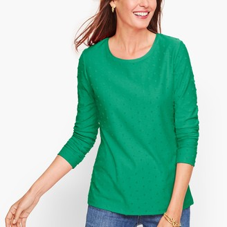 Talbots Long Sleeve Crewneck Tee - Textured Dot