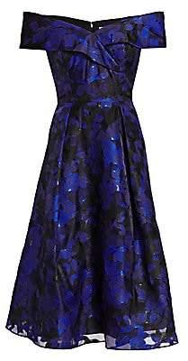 Teri Jon by Rickie Freeman Women's Off-The-Shoulder Floral Jacquard Dress