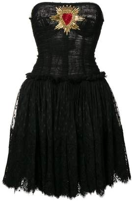 Dolce & Gabbana plumetis bustier dress with Sacred Heart patch