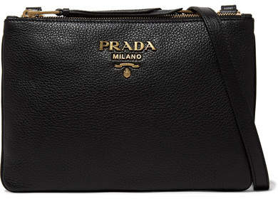 prada Prada - Textured-leather Shoulder Bag - Black