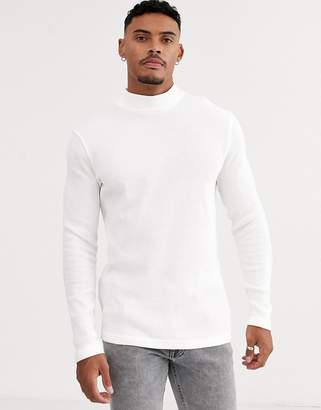 Bershka Join Life Organic Cotton fine knit with turtle neck in white