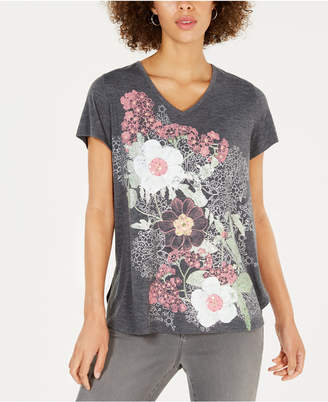 Style&Co. Style & Co Floral Graphic-Print T-Shirt, Created for Macy's