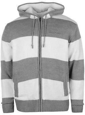 Soul Cal SoulCal Mens Stripe Lined Knit Zip Hoodie Knitwear Hoody Hooded Top Long Sleeve