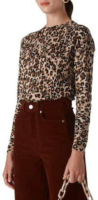 Whistles Leopard Print Crewneck Sweater