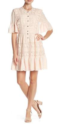 Rebecca Taylor Bell Sleeve Eyelet Lace Dress