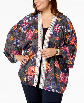 Eyeshadow Trendy Plus Size Lace-Trim Kimono