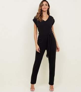 510fd6ed5313 Yumi Black V-Neck Cap Sleeve Jumpsuit