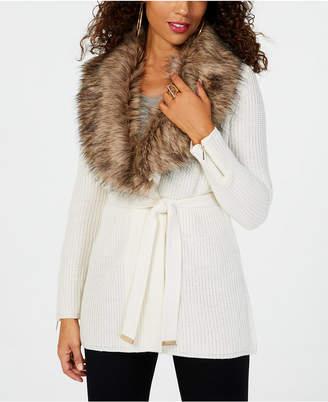 Thalia Sodi Faux-Fur-Trimmed Wrap Cardigan