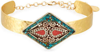 Devon Leigh Turquoise & Coral Collar Necklace