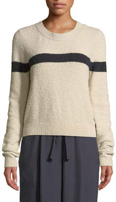 Vince Single-Stripe Crewneck Cotton-Blend Pullover Sweater