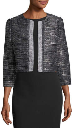Karl Lagerfeld Paris Graphic Open-Front Tweed Jacket
