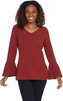 Belle By Kim Gravel Belle by Kim Gravel Stretch Fleece V-Neck Bell Sleeve Top