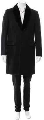 Fendi Mink-Trimmed Virgin Wool Overcoat