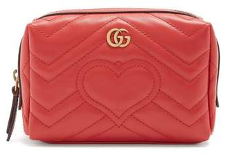 Gucci Gg Marmont Quilted Leather Make Up Bag - Womens - Red Multi