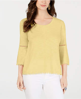 Style&Co. Style & Co Crochet-Trim Bell-Sleeve Top