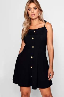boohoo Plus Button Down Tie Strap Skater Dress