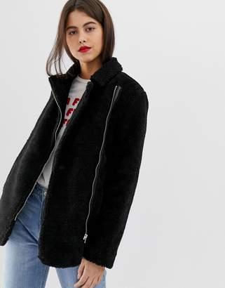 Vila fuzzy aviator coat