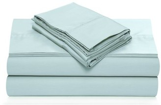 Tribeca Living 360 Thread Count Cotton Sateen Extra Deep Pocket Solid Sheet Set King Sky Blue