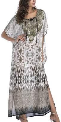 Bsubseach Women Bohemian Print Lace Up V Neck Chiffon Bathing Suits Cover Up Swimwear Kaftan Long Dress