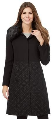 Ben de Lisi Principles by Black Jacquard Faux Fur Collar Coat