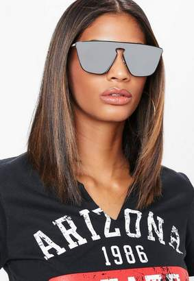 Missguided Black Cut Out Visor Sunglasses