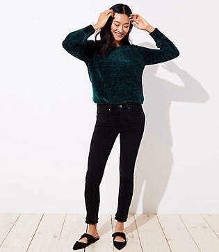 LOFT Petite Modern Double Frayed Soft Skinny Jeans in Black