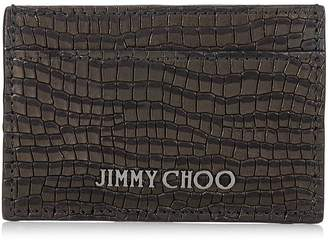 Jimmy Choo DEAN Black Crocodile Printed Nubuck Leather Cardholder
