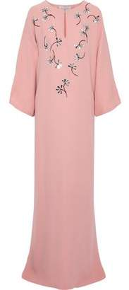 Carolina Herrera Embellished Silk Crepe De Chine Gown