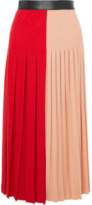 Givenchy Color-block Pleated Stretch-jersey Midi Skirt - Red