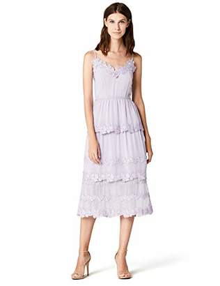 a153a35c9cd4 TRUTH & FABLE Women's Midi Chiffon Dress With Floral  Embroidery,(Manufacturer size: Medium