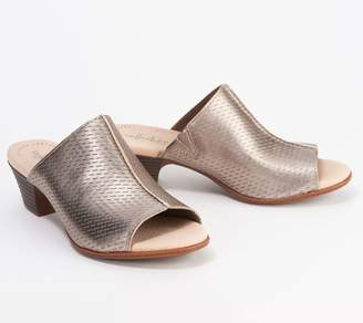 Clarks Collection Leather Heeled Slide Sandals - Valarie Caddy