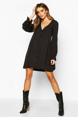 boohoo Long Sleeve V Neck Button Shift Dress