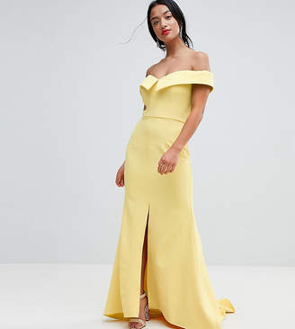 Bardot Jarlo Petite Maxi Dress With Thigh Split And Train Detail