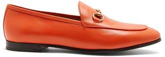 Gucci Jordaan Leather Loafers - Womens - Orange
