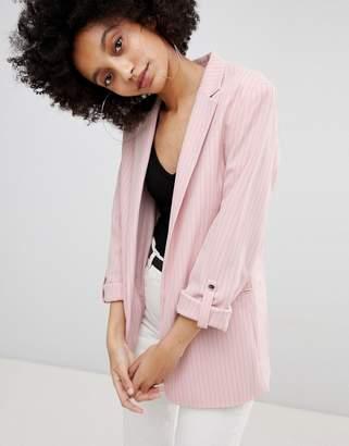 Bershka Longline Stripe Blazer