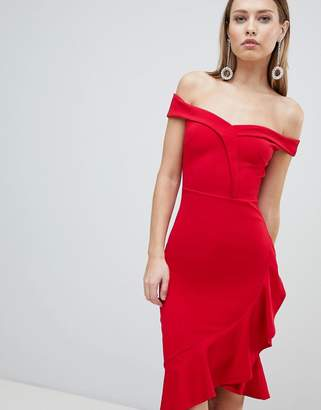Lipsy Red Ruffle Bardot Bodycon Dress