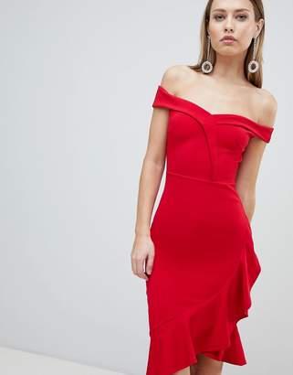 Lipsy Red Ruffle Bardot Bodycon Dress