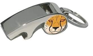 Generic Cheetah Face, Safari Big Cat, Plated Metal Whistle Bottle Opener Keychain Key Ring