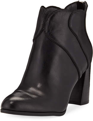 Adrienne Vittadini Tabby Leather Block-Heel Booties
