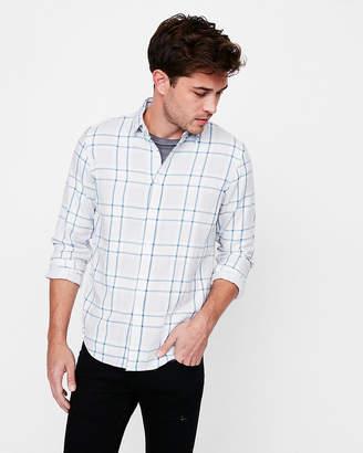 Express Slim Soft Wash Plaid Double Weave Button Down Shirt