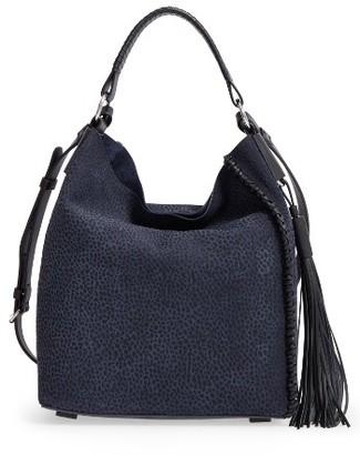 Allsaints Mini Pearl Convertible Leather Hobo - Blue $348 thestylecure.com