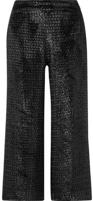 Brandon Maxwell - Cropped Metallic Velvet Wide-leg Pants - Black