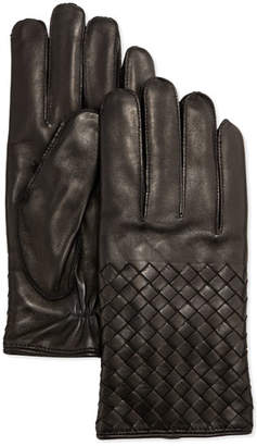 Bottega Veneta Men's Woven Leather Gloves, Black