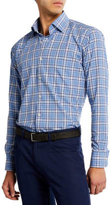 Peter Millar Men's Crown Finish Madras Check Sport Shirt